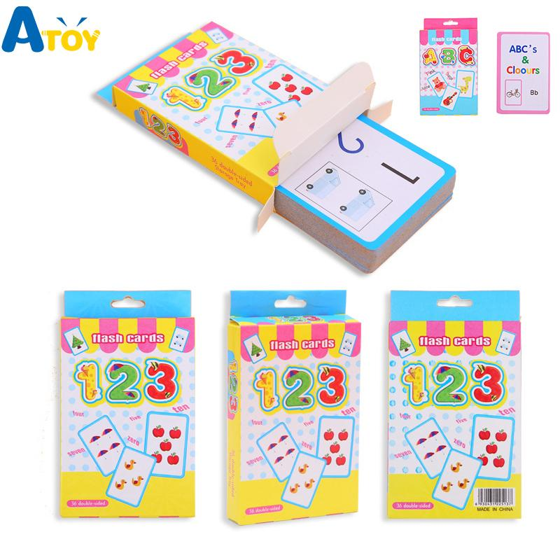Early Educational English Word Number Math Learning Flash Cards