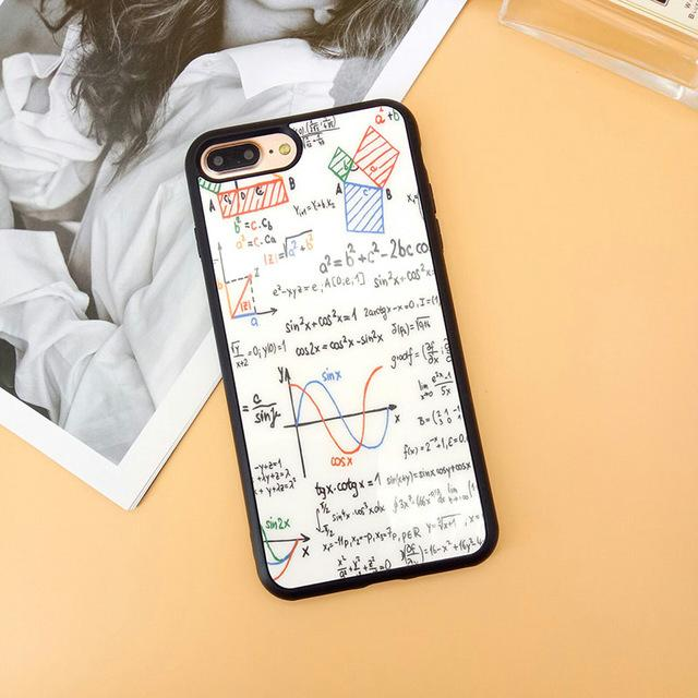 Math Mathematics Formula Case for iPhone 5 5S 6 6S Plus Glossy Mirror Funda Coque for iPhone 7 8 Plus X Soft Silicon Couple Case