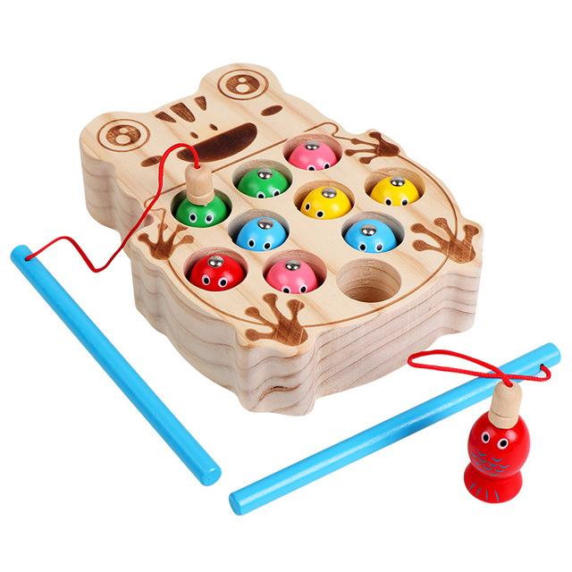 Preschool Wooden Montessori Toys Magnetic Fishing Game Baby Puzzle Early Education Teaching Aids Math Toy For Children Girl Gift