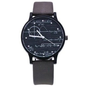 Luxury Creativity Equation Mathematical Formula Math Symbols PU Leather Analog Quartz Unisex Watch Men Women Wristwatch C028