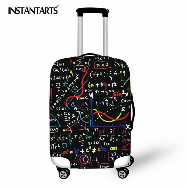 INSTANTARTS Math Formula 3D Print Travel Suitcase Protective Trunk Covers Apply To 18~30 Inch Stretch Trolley Case Dust Cover