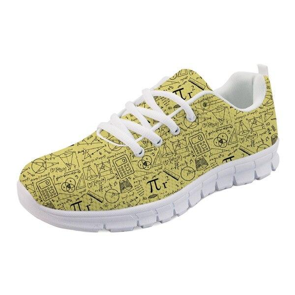NOISYDESIGNS flat Women's Sneakers Shoes Fashion Math Pattern Breathable Mesh