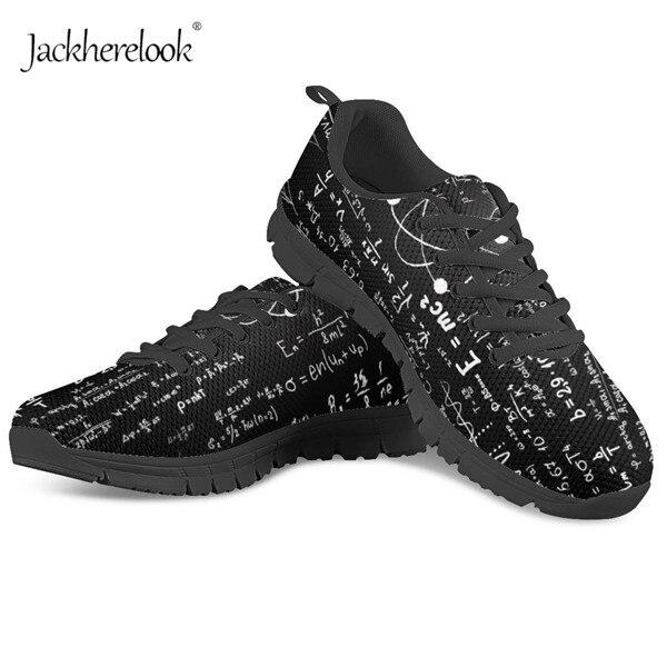 Jackherelook Fashion Women Black Math Formula Pattern Sneakers Woman Casual Breathable Mesh Vulcanized Shoes Lady Gym Flat Shoes