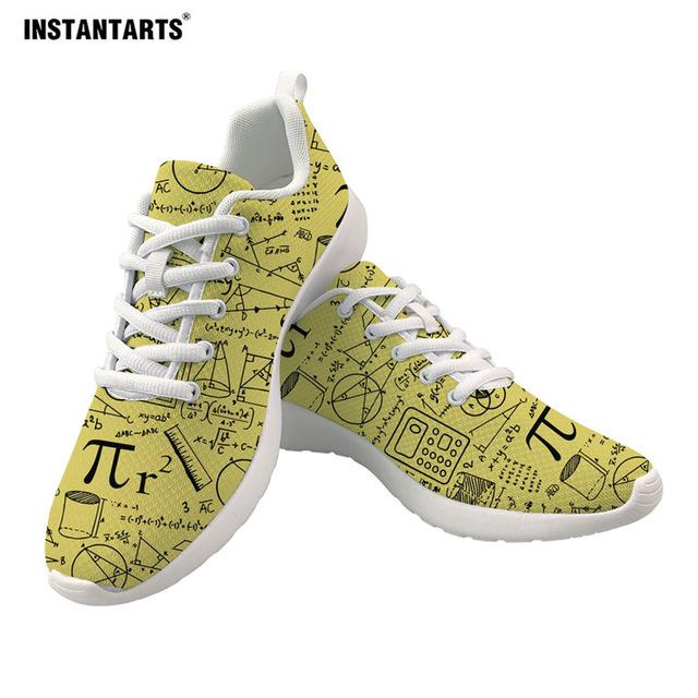 INSTANTARTS Math Pattern Teen Girl's Casual Sneakers Ladies Yellow Anti-Slip Flats Shoes Spring Walking Shoes Zapatos De Mujer