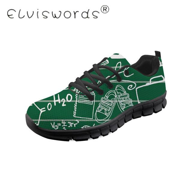 ELVISWORDS Men Casual Shoes Math Formula Printed Shoes Print on Demand Male Trend Shoes Black Lace-Up Breathable Mesh Sneakers