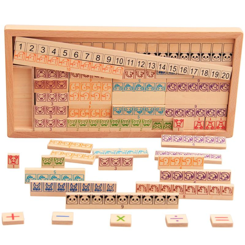 Kids Montessori Wooden Toys Math Toy Arithmetic Addition Subtraction Multiplication Early Learning Teaching Math Shape Cognition
