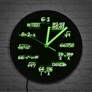 Math Wall Clock With LED Neon illumination Math Formula Pop Equation Luminous Wall Hanging Watch Scicence Educational Kid Gift