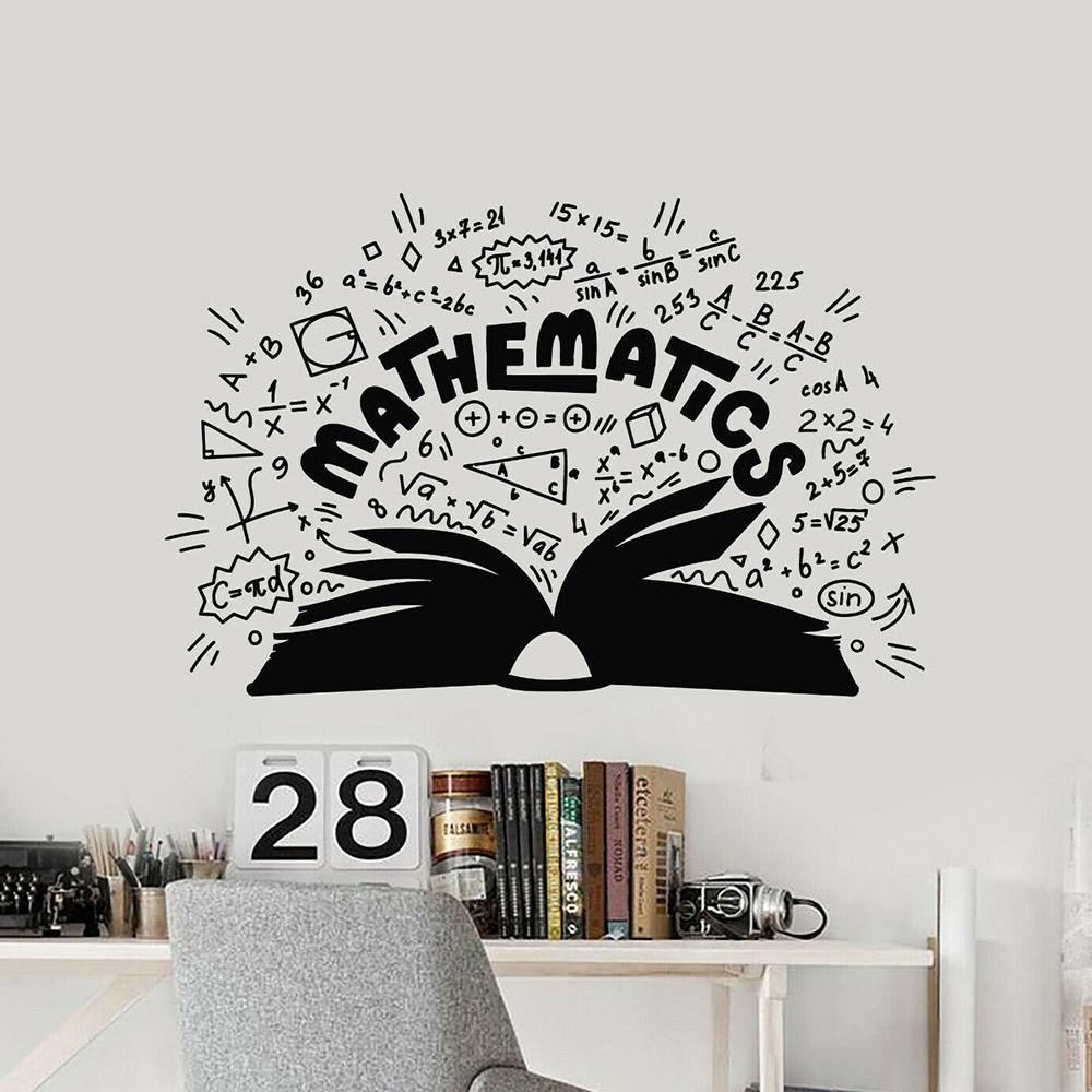 Mathematics Vinyl Wall Decal School Math Symbols Book Wall Stickers Teen Room Home Decoration Accessories For Classroom W141