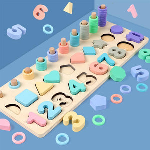 Montessori Educational 3-in-1 Number Shape Wooden Board Math Toys