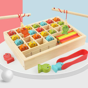 Montessori Educational Wooden Kids Toy Count Magnetic Fishing Math Game