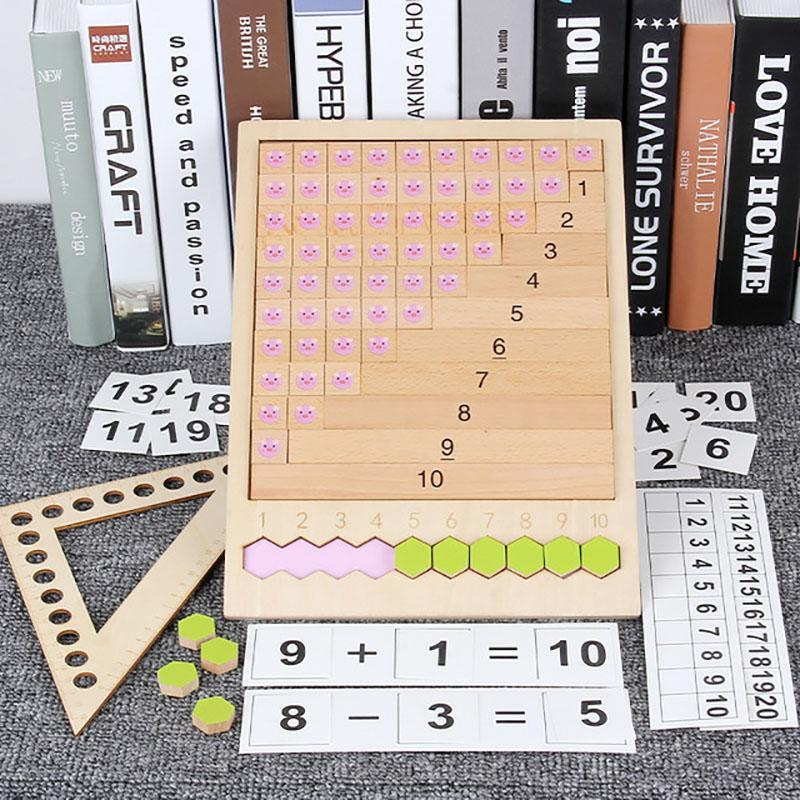 Montessori Math Teaching Aids Wood Toys Puzzle Table Game Addition Subtraction Multiplication Division Arithmetic Learning Box