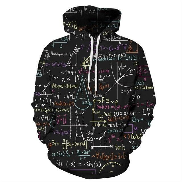 2020 Women Men 3D Black Hoodies Funny Maths Formula Print Sweatshirt Pullover