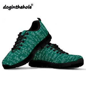 Platform Math Formula Pattern Women's Fashion Flat Travel Lightweight Mesh Walking Shoes