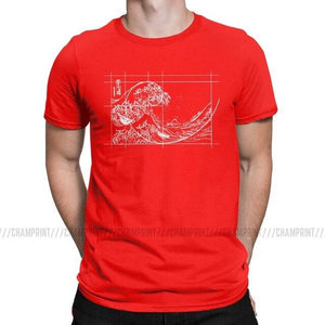 Hokusai Meets Fibonacci Sequence Golden Ratio Men's T Shirt Math Technical Geek Casual Tees Round Neck T-Shirts Plus Size Tops