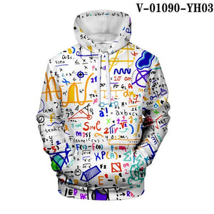 Funny Graffiti Hoodie 3D Print Man/Woman Sweatshirt Math physical chemistry student Hoodies Science Formula Harajuku Streetwear