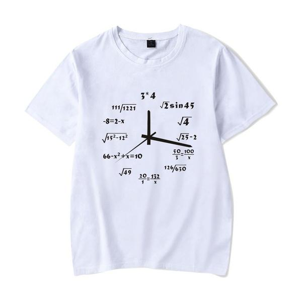 Math Clock T-Shirt Funny Casual Grunge Aesthetic Fashion 100% Cotton Unisex Shirts