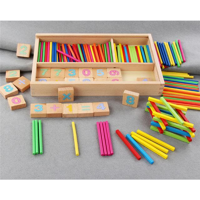 Wooden Math Box Baby Learning Math Digital Stickers Early Learning Toys Give Children The Best Enlightenment Toy Gift