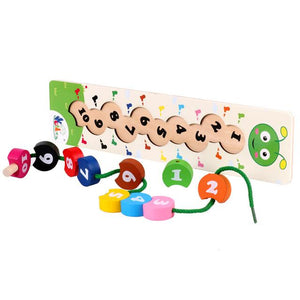 Wooden Math Toy Colorful Number Stringing Threading Caterpillar