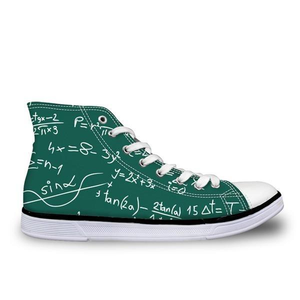 Math Subject Men Vulcanize Shoes Letter Printed Shoes Man High Top Flats Classic Canvas Shoes Custom For Studnet Boys