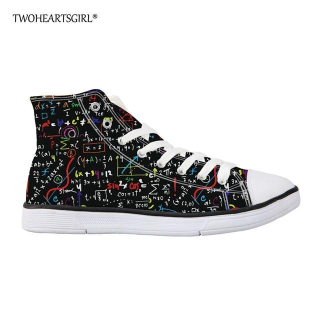 Math Formula Print Canvas Shoes Casual Flat Vulcanized Shoes for Women Lightweight High Top Sneakers