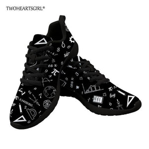 Twoheartsgirl Black Math Formula Pattern Vulcanize Sneakers for Men, Breathable Lace Up Male Spring Autumn Flats, Classic Flats