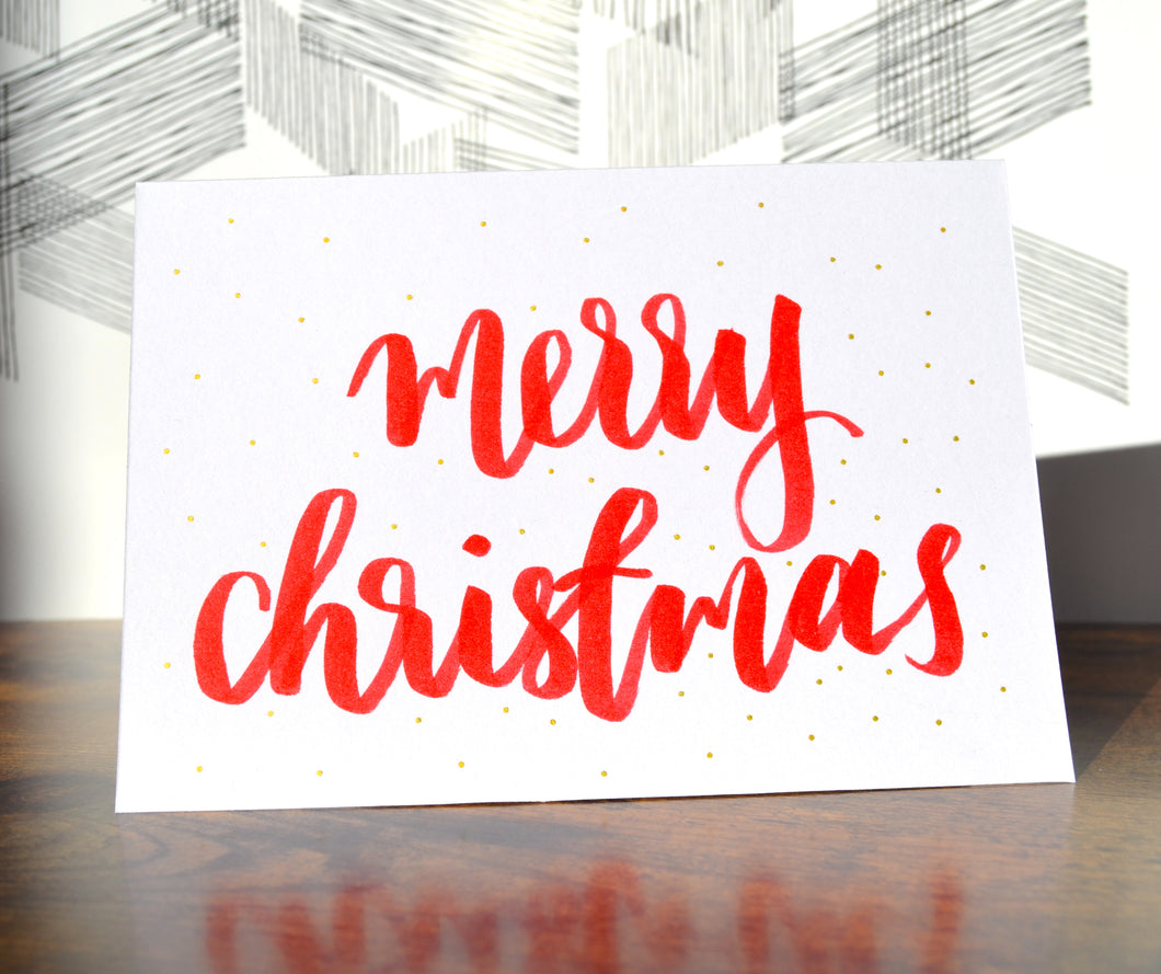 classic christmas cards - hand lettered
