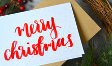 Load image into Gallery viewer, classic christmas cards - hand lettered