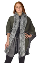 Load image into Gallery viewer, Faux Fur Poncho Extra Belt Sweater Relaxed Fit Pullover Warm Cover Up
