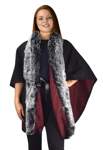 Faux Fur Poncho Extra Belt Sweater Relaxed Fit Pullover Warm Cover Up