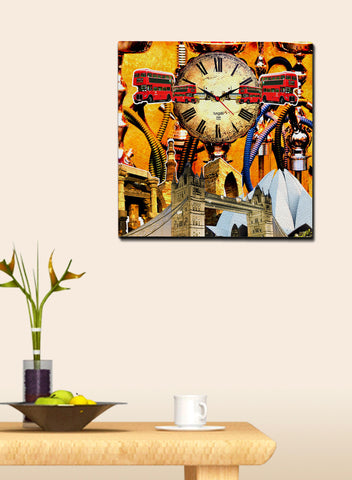 INDIA AND LONDON FUSION CANVAS CLOCK