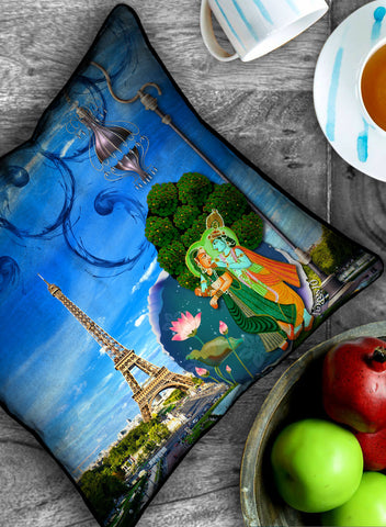 RADHA KRISHNA IN PARIS CUSHION COVER