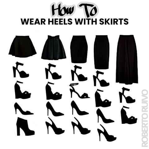 How to wear high heels with skirts infographic guide - Roberto Ruivo