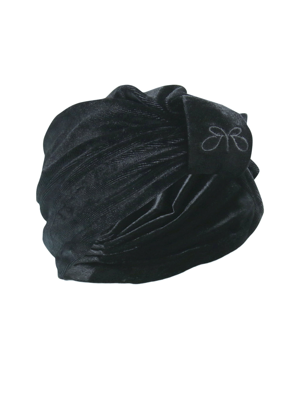 Roberto Ruivo Dubai Black Velvet Slip on and Off One-Size-Fits-All Turbai Turban