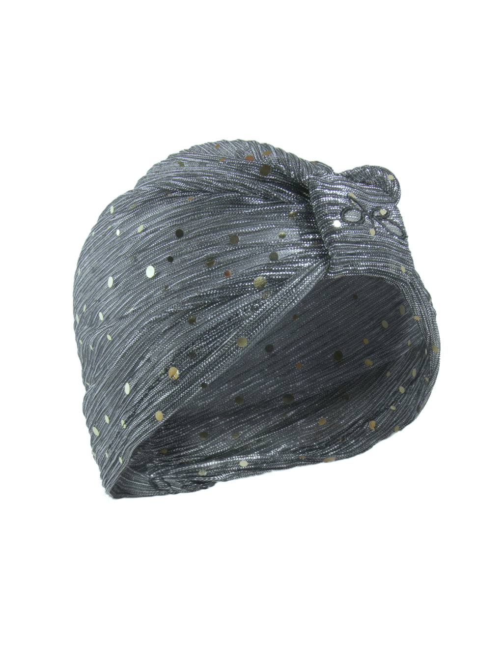 Roberto Ruivo Dubai Grey Sheer Fabric with Sequin and Sparkle Slip on and Off One-Size-Fits-All Turbai Turban