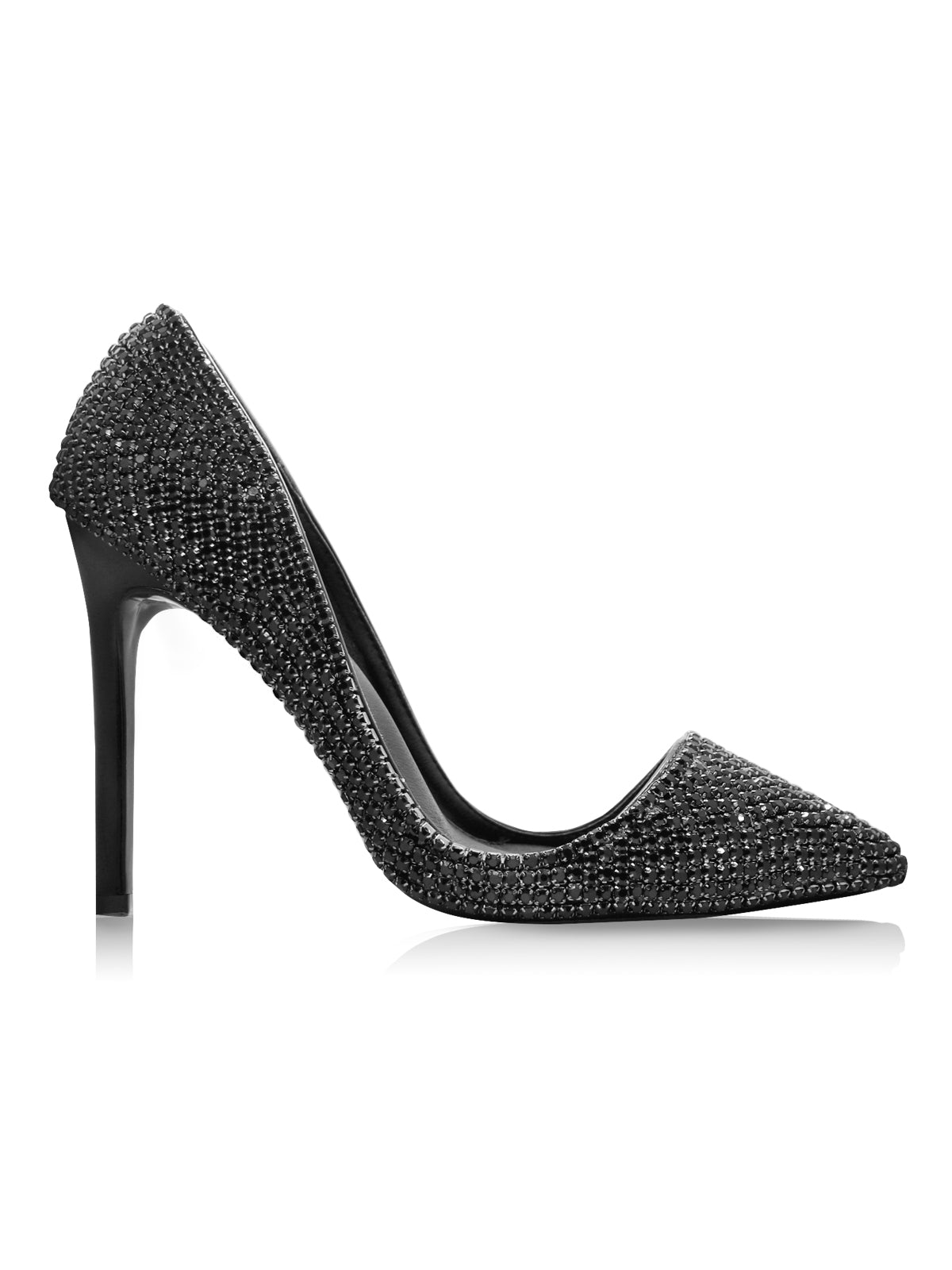 Roberto Ruivo Dubai Fashion High Heel Stilettos Black Crystals Pointed Toe Pumps