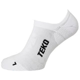 2x Teko No-Show Running & Fitness Socks - White - Size Medium Only - CLEARANCE