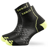 2x Teko Adrenalin Running Socks - Light Cushion - Carbon/Firefly