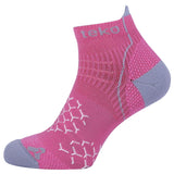 2x Teko Womens RunFit Running Socks - Light Cushion - Fuschia/Grey