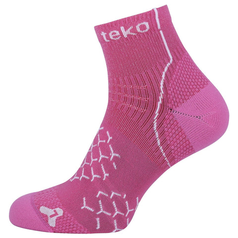 2x Teko Womens Adrenalin Running Socks - Light Cushion - Fuschia/White