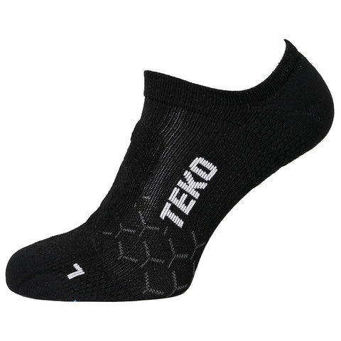 2x Teko No-Show Running & Fitness Socks - Black