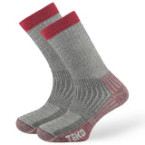 2x Teko Merino Trekking Socks - Heavy Cushion - Charcoal/Red
