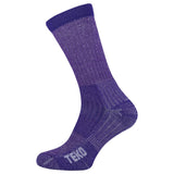 2x Teko Womens Merino Hiking Socks - Light Cushion - Plum