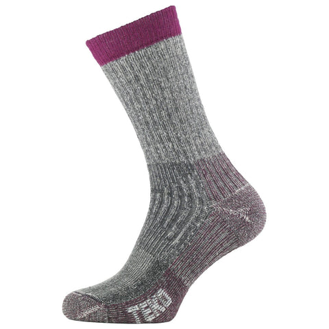 2x Teko Womens Merino Hiking Socks - Medium Cushion - Charcoal/Cranberry