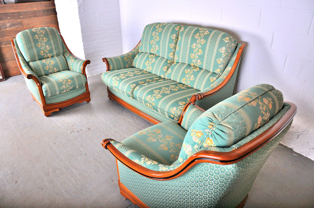 Vintage French Country Style 3-pc Two Seater Sofa and Two Side Chairs
