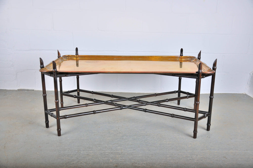 Hollywood Regency Chinoiserie Faux Bamboo and Brass Tray Coffee
