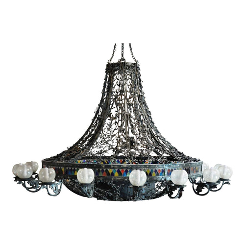 Massive Handmade Ornate Wrought Iron 16 Lights Turkish Chandelier