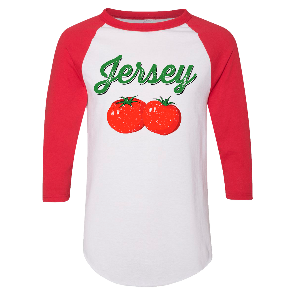 Jersey Tomatoes Baseball T-shirt [ Cherry Red ]