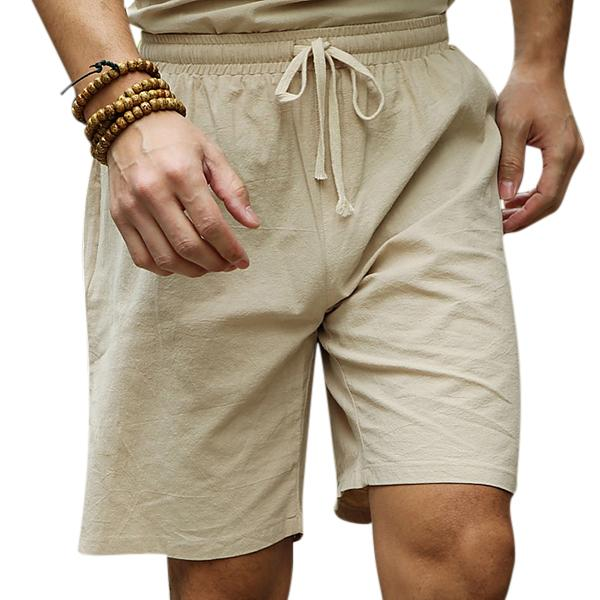 Mens Summer Cotton Linen Drawstring Solid Color Knee Length Casual Shorts
