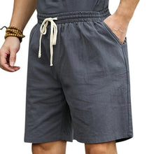 Load image into Gallery viewer, Mens Summer Cotton Linen Drawstring Solid Color Knee Length Casual Shorts
