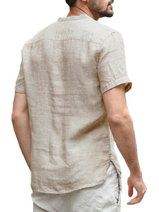 Mens Summer Short Sleeve Stand Collar Casual Shirt Loose Solid Color Tee Top T-shirt